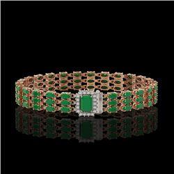 28.74 ctw Emerald & Diamond Bracelet 14K Rose Gold