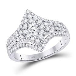 14kt White Gold Womens Round Diamond Cluster Bridal Wedding Engagement Ring 7/8 Cttw