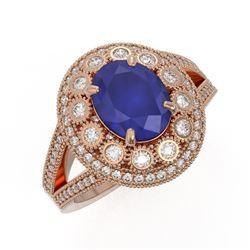 4.55 ctw Certified Sapphire & Diamond Victorian Ring 14K Rose Gold