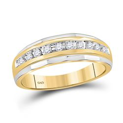 10kt Two-tone Gold Mens Round Diamond Wedding Band Ring 1/4 Cttw