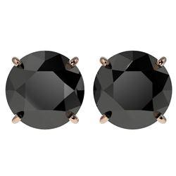 4.19 ctw Fancy Black Diamond Solitaire Stud Earrings 10k Rose Gold