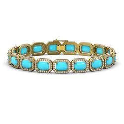 23.66 ctw Turquoise & Diamond Micro Pave Halo Bracelet 10k Yellow Gold