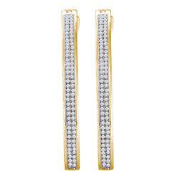 10kt Yellow Gold Womens Round Diamond Slender Double Row Hoop Earrings 1/2 Cttw