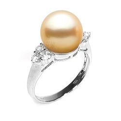 Golden South Sea Pearl and Diamond Anniversary Ring