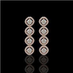 3.84 ctw Cushion Cut Diamond Micro Pave Earrings 18K Rose Gold