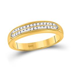 10kt Yellow Gold Mens Round Diamond Double Row Band Ring 1/4 Cttw