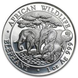 2013 Somalia 1 oz Silver African Elephant (Snake Privy)