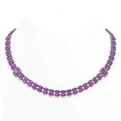 30.47 ctw Amethyst & Diamond Necklace 14K White Gold