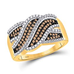 10kt Yellow Gold Womens Round Brown Diamond Crossover Band 1/3 Cttw