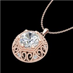 1.11 ctw VS/SI Diamond Solitaire Art Deco Stud Necklace 18k Rose Gold