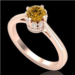 0.81 ctw Intense Fancy Yellow Diamond Art Deco Ring 18k Rose Gold