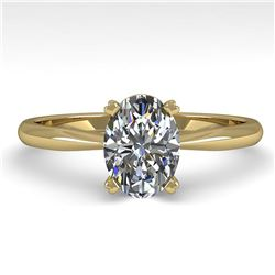 1 ctw Oval Cut VS/SI Diamond Engagment Designer Ring 18k Yellow Gold