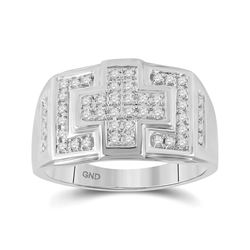 10kt White Gold Mens Round Diamond Cross Cluster Ring 1/3 Cttw