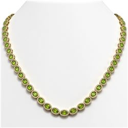 23.86 ctw Peridot & Diamond Micro Pave Halo Necklace 10k Yellow Gold