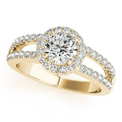 1.25 ctw Certified VS/SI Diamond Solitaire Halo Ring 14k Yellow Gold