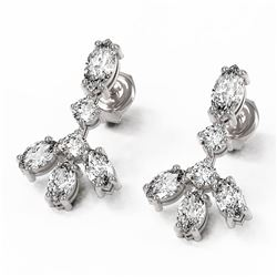 3.5 ctw Marquise Diamond Designer Earrings 18K White Gold