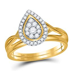 10kt Yellow Gold Womens Round Diamond Cluster Bridal Wedding Engagement Ring Set 1/3 Cttw
