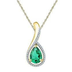 10kt Yellow Gold Womens Pear Lab-Created Emerald Solitaire Diamond Pendant 2.00 Cttw