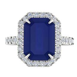 5.33 ctw Sapphire & Micro Pave VS/SI Diamond Ring 18k White Gold