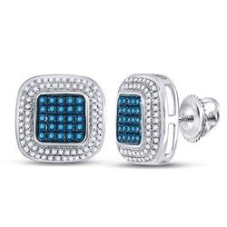 10kt White Gold Womens Round Blue Color Enhanced Diamond Square Frame Cluster Earrings 1/2 Cttw
