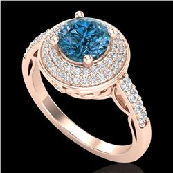 1.7 ctw Intense Blue Diamond Engagment Art Deco Ring 18k Rose Gold