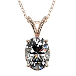 1 ctw Certified VS/SI Quality Oval Diamond Necklace 10k Rose Gold