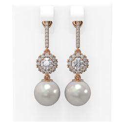 1.92 ctw Diamond & Pearl Earrings 18K Rose Gold