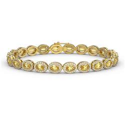 10.07 ctw Fancy Citrine & Diamond Micro Pave Halo Bracelet 10k Yellow Gold