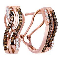 10kt Rose Gold Womens Round Brown Diamond Striped Hoop Earrings 1/2 Cttw