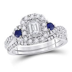 14kt White Gold Womens Emerald Diamond Bridal Wedding Engagement Ring Set 3/4 Cttw
