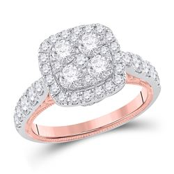 14kt Two-tone Gold Womens Round Diamond Cluster Bridal Wedding Engagement Ring 2.00 Cttw