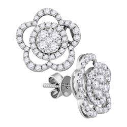 18kt White Gold Womens Round Diamond Convertible Star Dangle Jacket Earrings 1.00 Cttw