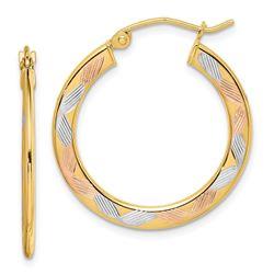 14k Yellow Gold w/White & Rose Rhodium Diamond-cut Hoop Earrings