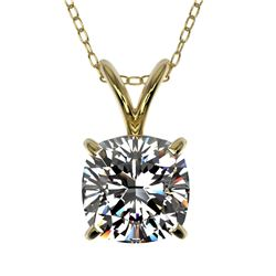 1 ctw Certified VS/SI Quality Cushion Cut Diamond Necklace 10k Yellow Gold
