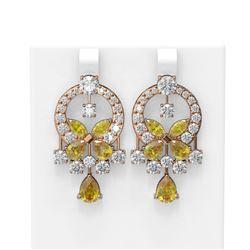 13.28 ctw Citrine & Diamond Earrings 18K Rose Gold