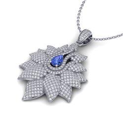 3 ctw Tanzanite & Micro Pave VS/SI Diamond Necklace 14k White Gold