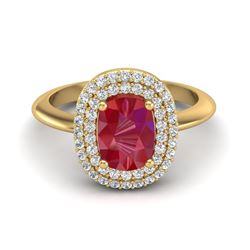 2.50 ctw Ruby With Micro VS/SI Diamond Ring Halo 14k Yellow Gold
