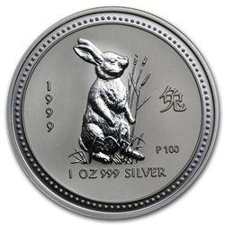 1999 Australia 1 oz Silver Year of the Rabbit BU (Series I)