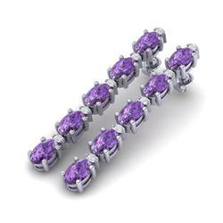 15.47 ctw Amethyst & VS/SI Certified Diamond Tennis Earrings 10k White Gold