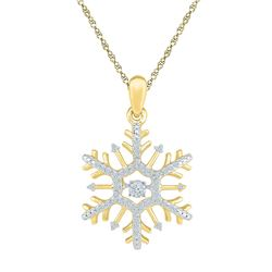 10kt Yellow Gold Womens Round Diamond Snowflake Winter Cluster Pendant 1/6 Cttw