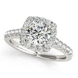 1.35 ctw Certified VS/SI Diamond Halo Ring 18k White Gold