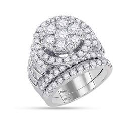 14kt White Gold Womens Round Diamond Bridal Wedding Engagement Ring Band Set 4-7/8 Cttw