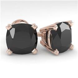6 ctw Cushion Black Diamond Stud Designer Earrings 18k Rose Gold