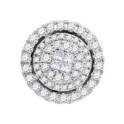 14kt White Gold Womens Princess Round Diamond Cluster Pendant 1/2 Cttw