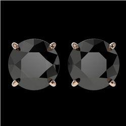 3.70 ctw Fancy Black Diamond Solitaire Stud Earrings 10k Rose Gold