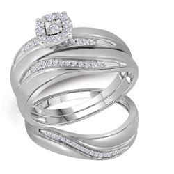 10kt White Gold Round Diamond Mens Womens Trio Matching Halo Wedding Bridal Ring Set 1/5 Cttw