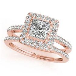 1.01 ctw Certified VS/SI Princess Diamond 2pc Set Halo 14k Rose Gold