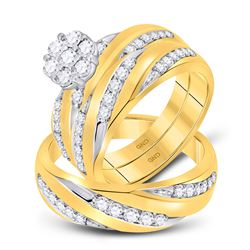 10kt Yellow Gold His Hers Round Diamond Cluster Matching Bridal Wedding Ring Band Set 1.00 Cttw