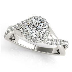 0.85 ctw Certified VS/SI Diamond Halo Ring 18k White Gold