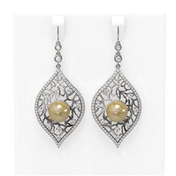 2.78 ctw Diamond & Pearl Earrings 18K White Gold